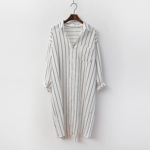 Cotton Stripe Long Shirts