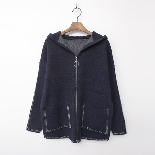 Wool Zip-Up Hood Warm Knit Coat