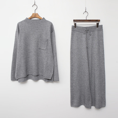 [SET] Wool Mini Neck Knit + Wide Pants