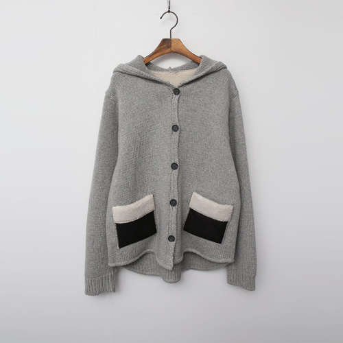 Wool Hood Patch Knit Cardigan - 덤블안감