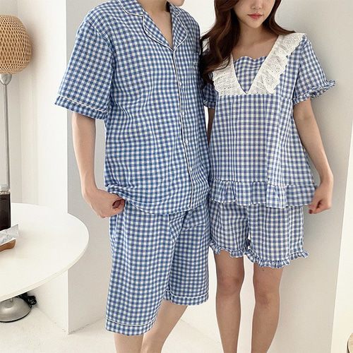 Sweet Check Pajama Set - 커플룩