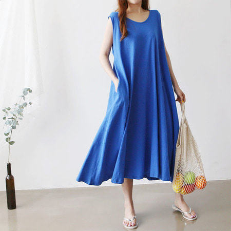 Easy A-Line Long Dress - 민소매