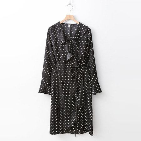 New Dot Ruffle Wrap Dress