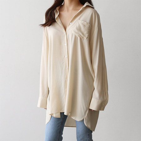 Silky Boyfriend Long Shirt