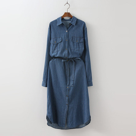 Stripe Denim Shirts Dress