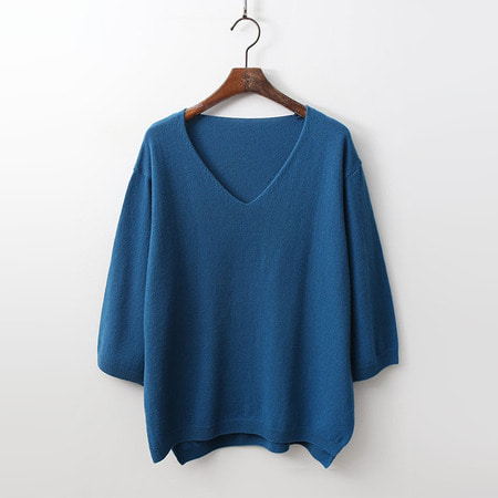 Cashmere Wool V-Neck Unbal Sweater