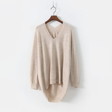 Hoega Cashmere N Wool V-Neck Unbal Sweater