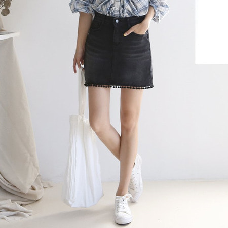Berry Denim Mini Skirt