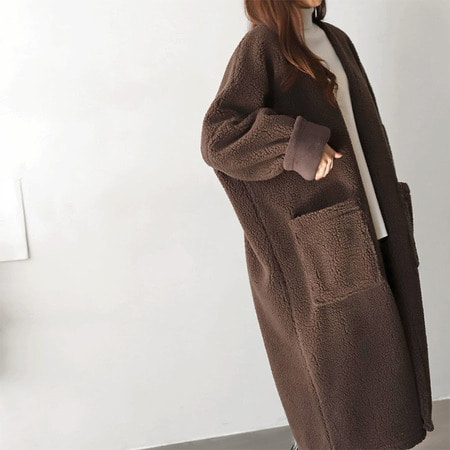 Faux Shearling Cardigan Coat