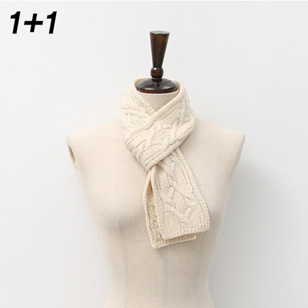 [1+1] Twist Mini Knit Muffler 2qty