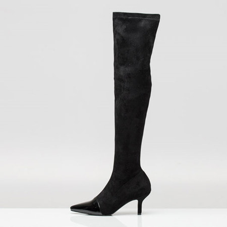 Two-Tone Suede Over The Knee High Boots