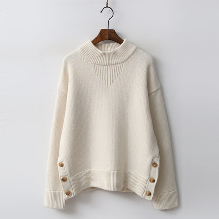 Cashmere Wool Button Sweater