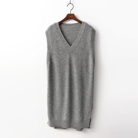 Wool V-Neck Long Vest