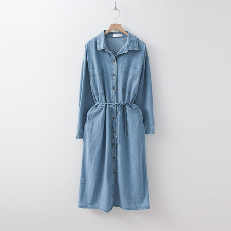 Aqua Denim Shirts Dress