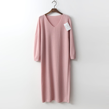 Hoega Wool N Cashmere V-Neck Long Dress