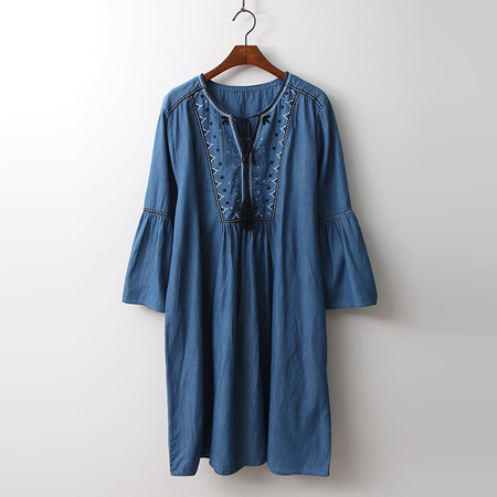 Denim Broderie Tassel Dress -  9부소매