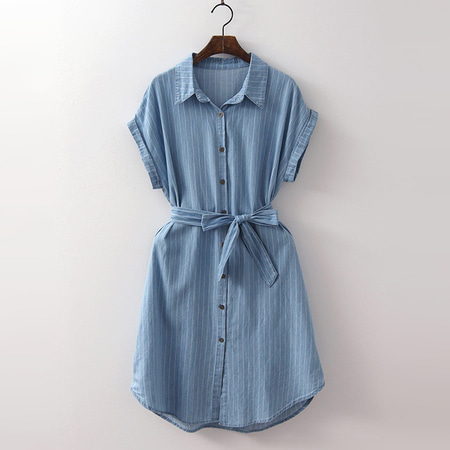 Denim Stripe Shirts Dress