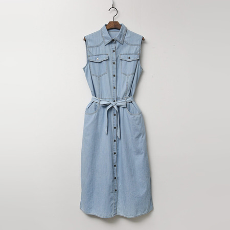 Denim Shirts Dress - 민소매