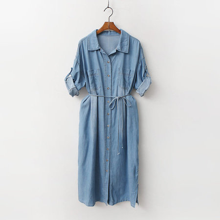 Denim Shirts Dress - 7부소매