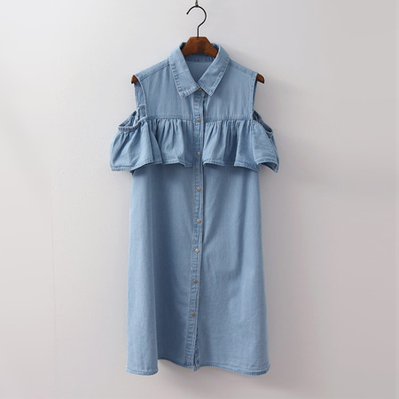 Off Denim Shirts Dress - 민소매