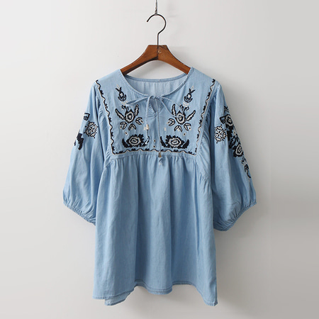 Denim Broderie Tassel Blouse