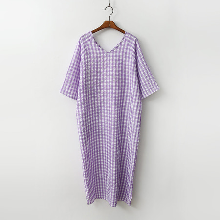 Gingham Boxy Long Dress