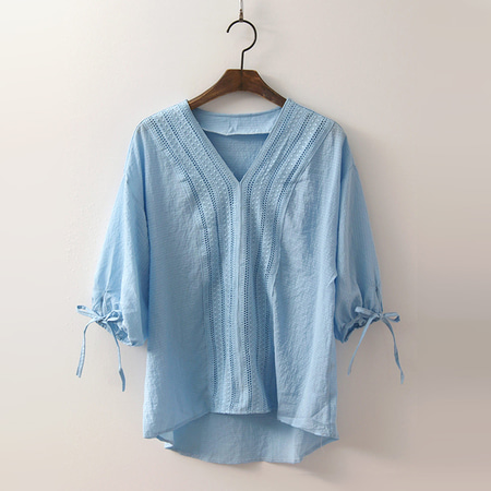 Cotton V-Neck Blouse