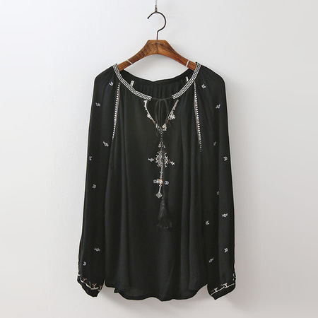Cotton Tassel Blouse - 긴팔
