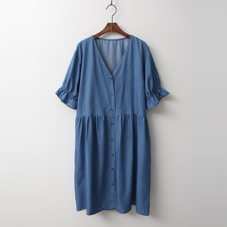 Frill Denim Dress