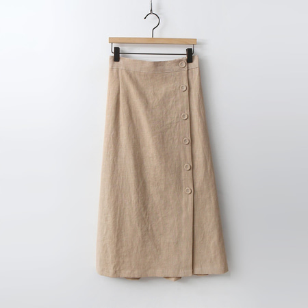 Linen Button Long Skirt