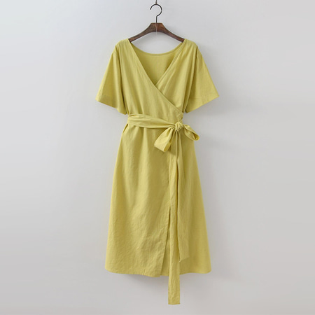 Linen Cotton Wrap Long Dress