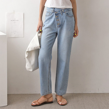 Button Wrap Wide Jeans