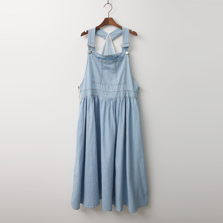 Rose Overall Denim Long Dress