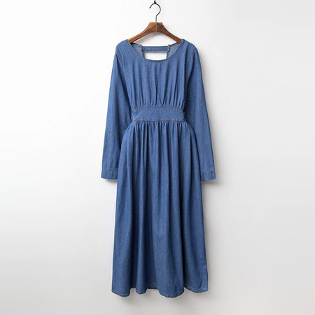 Ribbon Denim Long Dress
