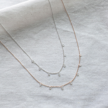 Cascading Cubic Necklace - Silver925