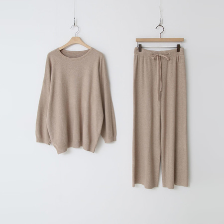 [Set] Round Knit + Knit Wide Pants