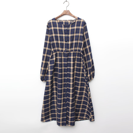 Autumn Check Button Dress