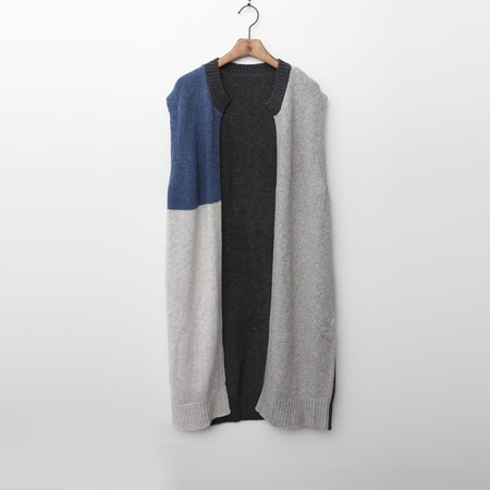 Wool Block Long Vest