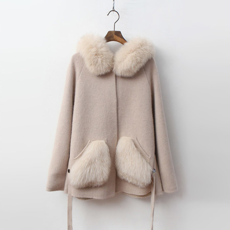Fox Cashmere Wool Hood Warm Knit Coat