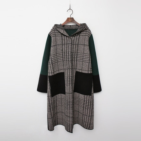 Wool Hood Check Warm Knit Coat