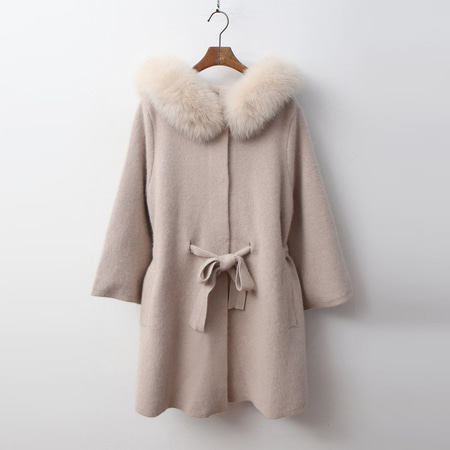 Fox Cashmere Wool Hood Poncho Warm Knit Coat