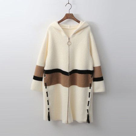 Wool Bosome Hood Zip-Up Knit Coat