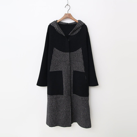 Wool Hood Houndtooth Warm Knit Coat
