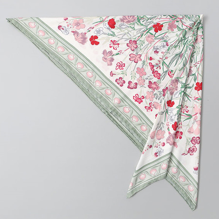 Silk Flower Square Scarf