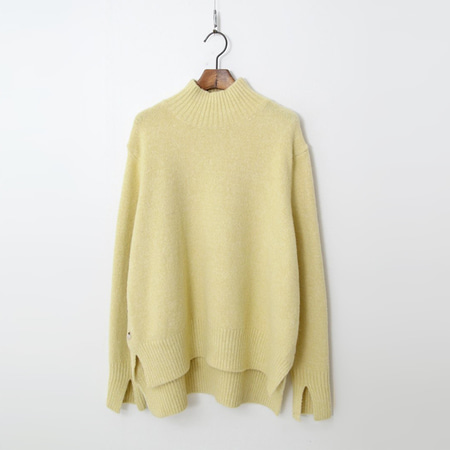 Wool Button Turtleneck Sweater