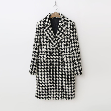 Wool Houndtooth Check Coat - 누빔안감