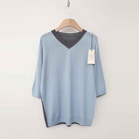 Laine Wool V-Neck Sweater - 반팔