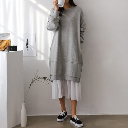 Chiffon Sweatshirt Dress