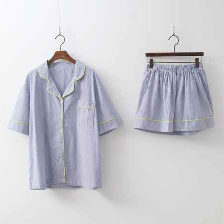Blue Stripe Pajama Set - 커플룩