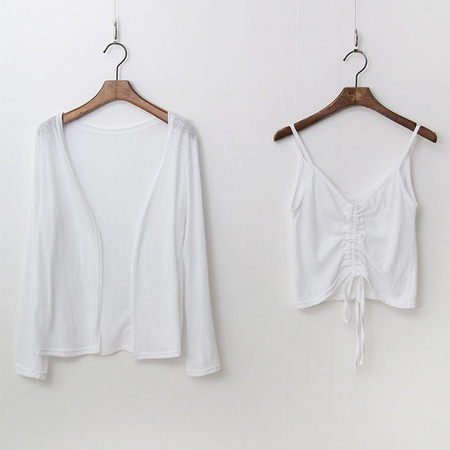 [Set] Linen Cotton V-Neck Tee + Cardigan